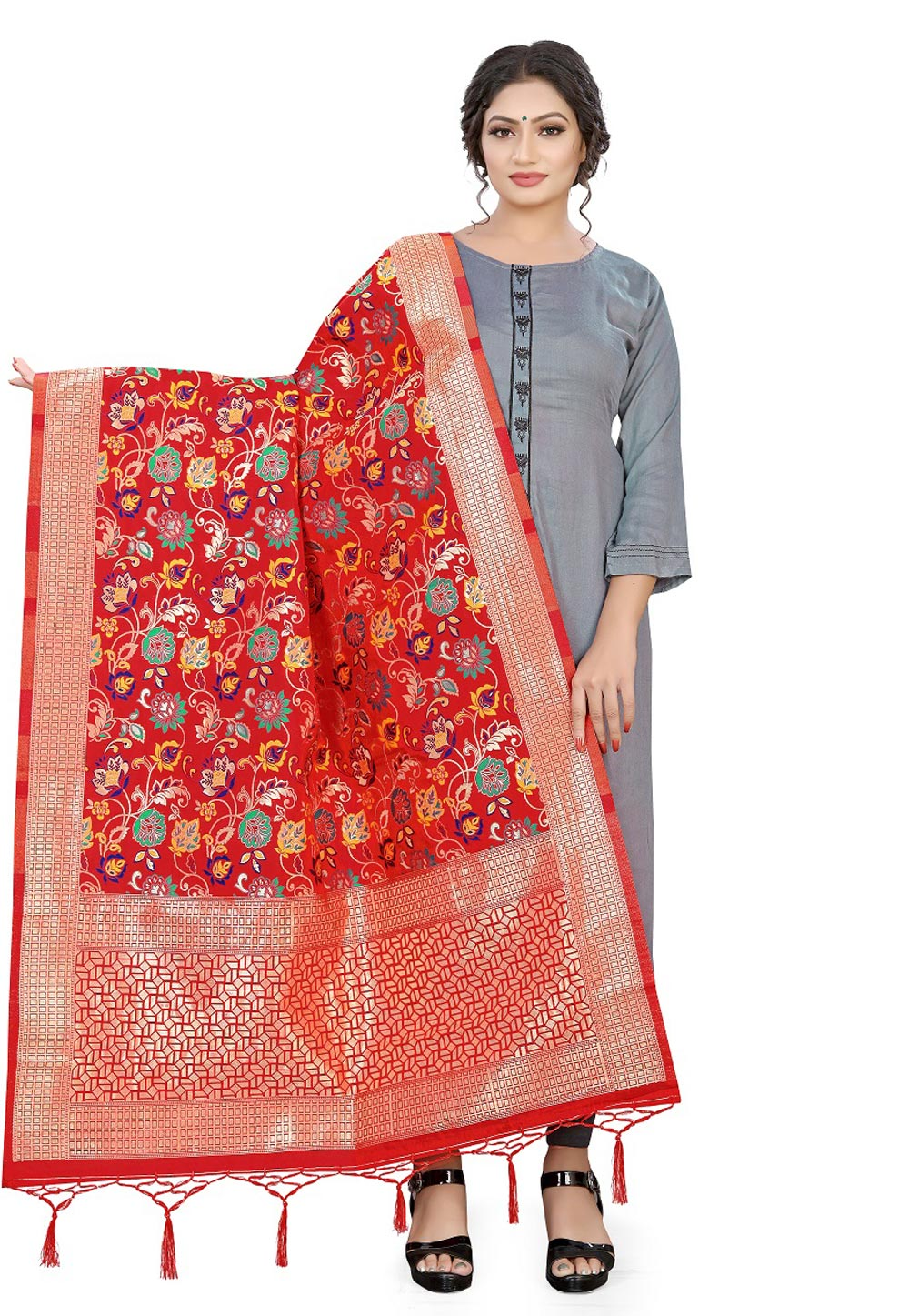 Red Banarasi Silk Dupatta 209321