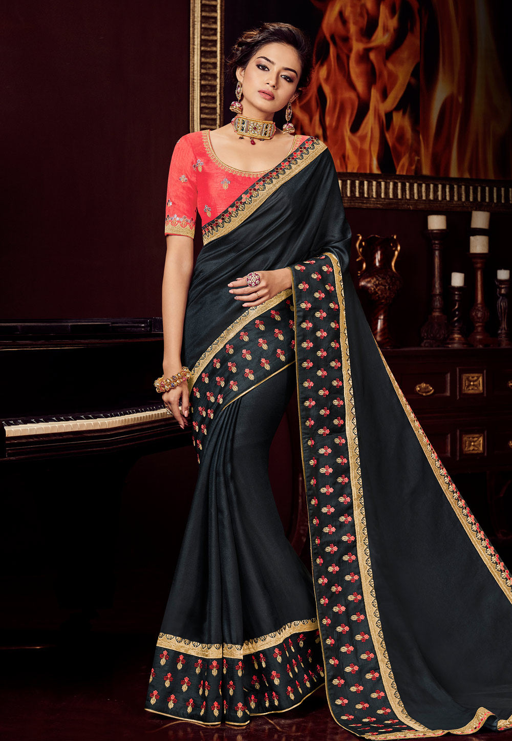 Black Silk Saree With Blouse 161707