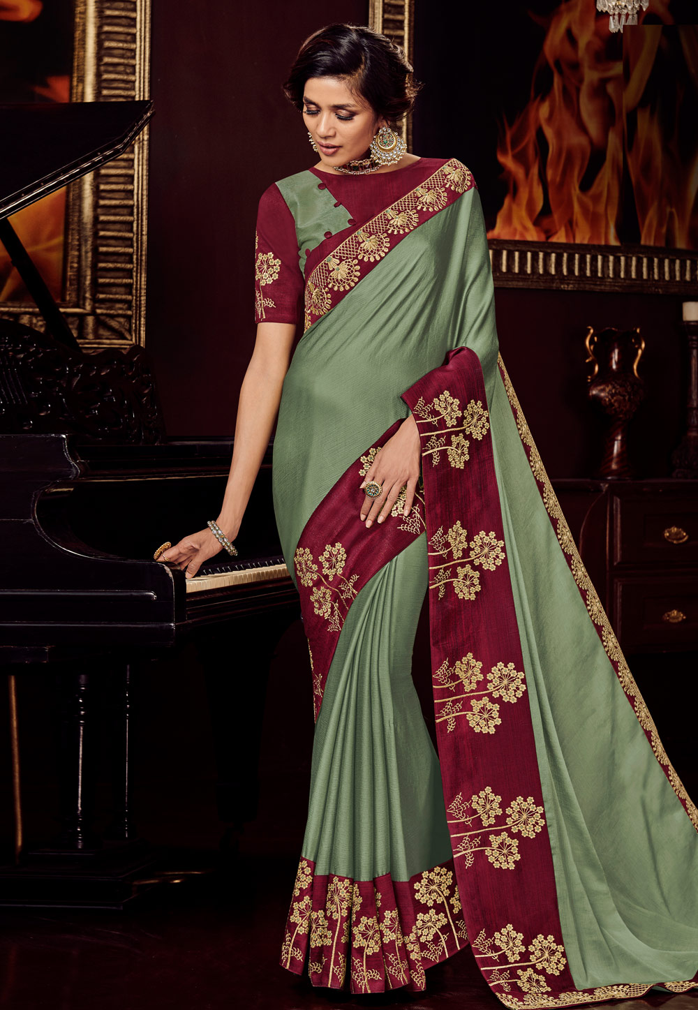Olive Green Satin Party Wear Saree 161708