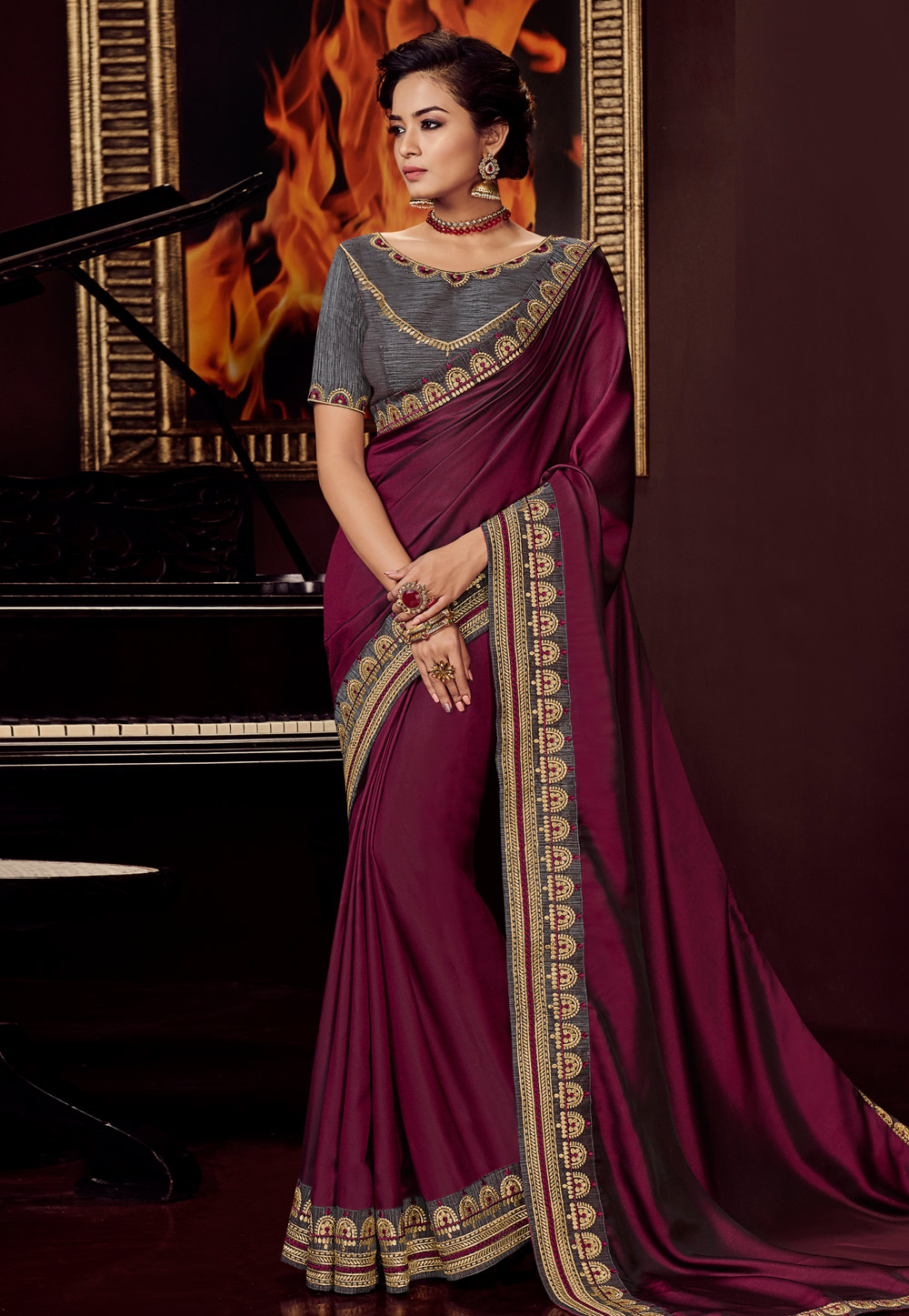 Purple Satin Embroidered Festival Wear Saree 161717