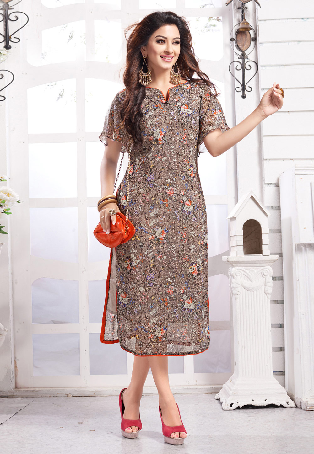 Light Brown Georgette Readymade Tunic 211145