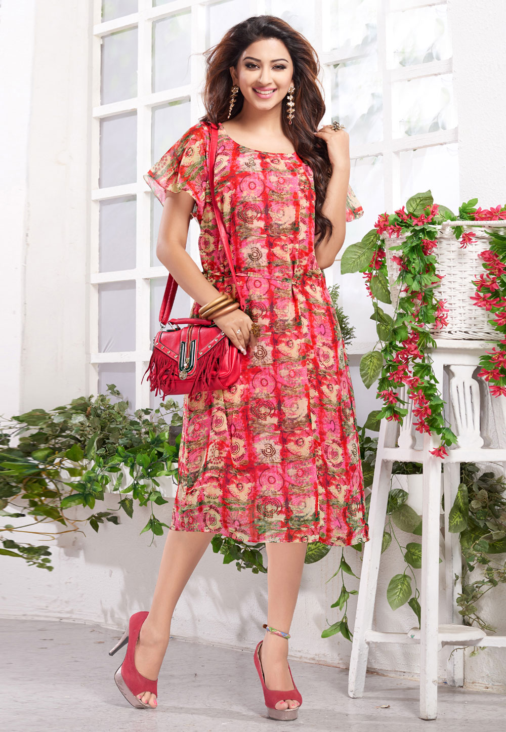 Pink Georgette Readymade Tunic 211147