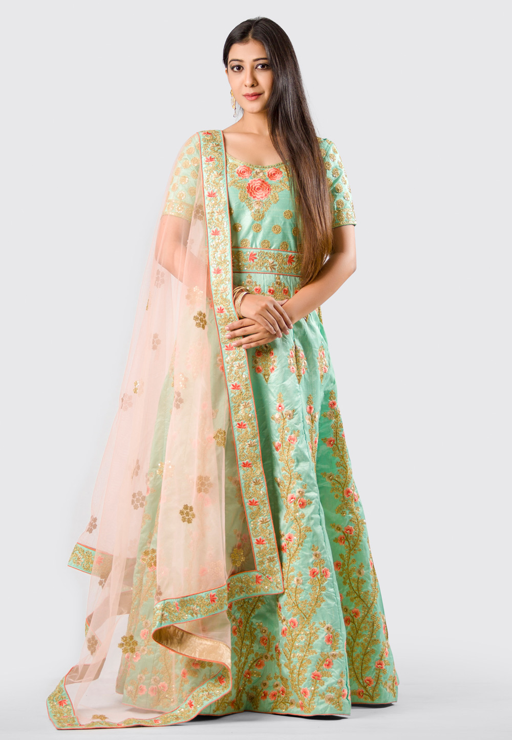 Sea Green Silk Anarkali Suit With Embroidery Work 154589