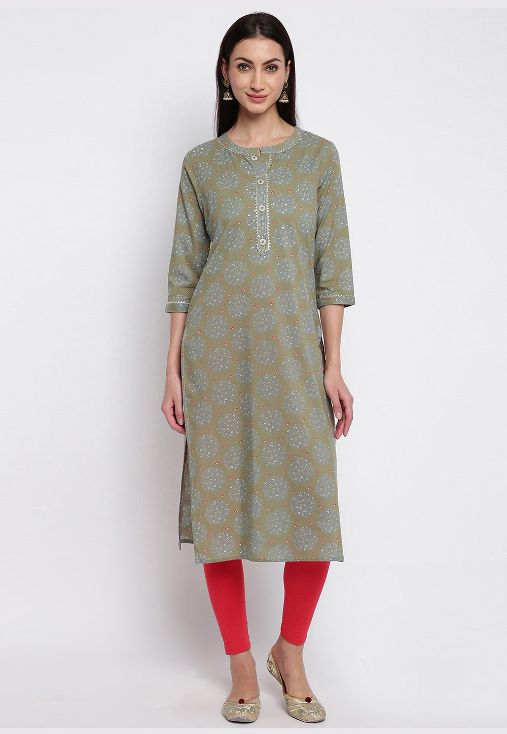 Olive Green Cotton Readymade Tunic 211641