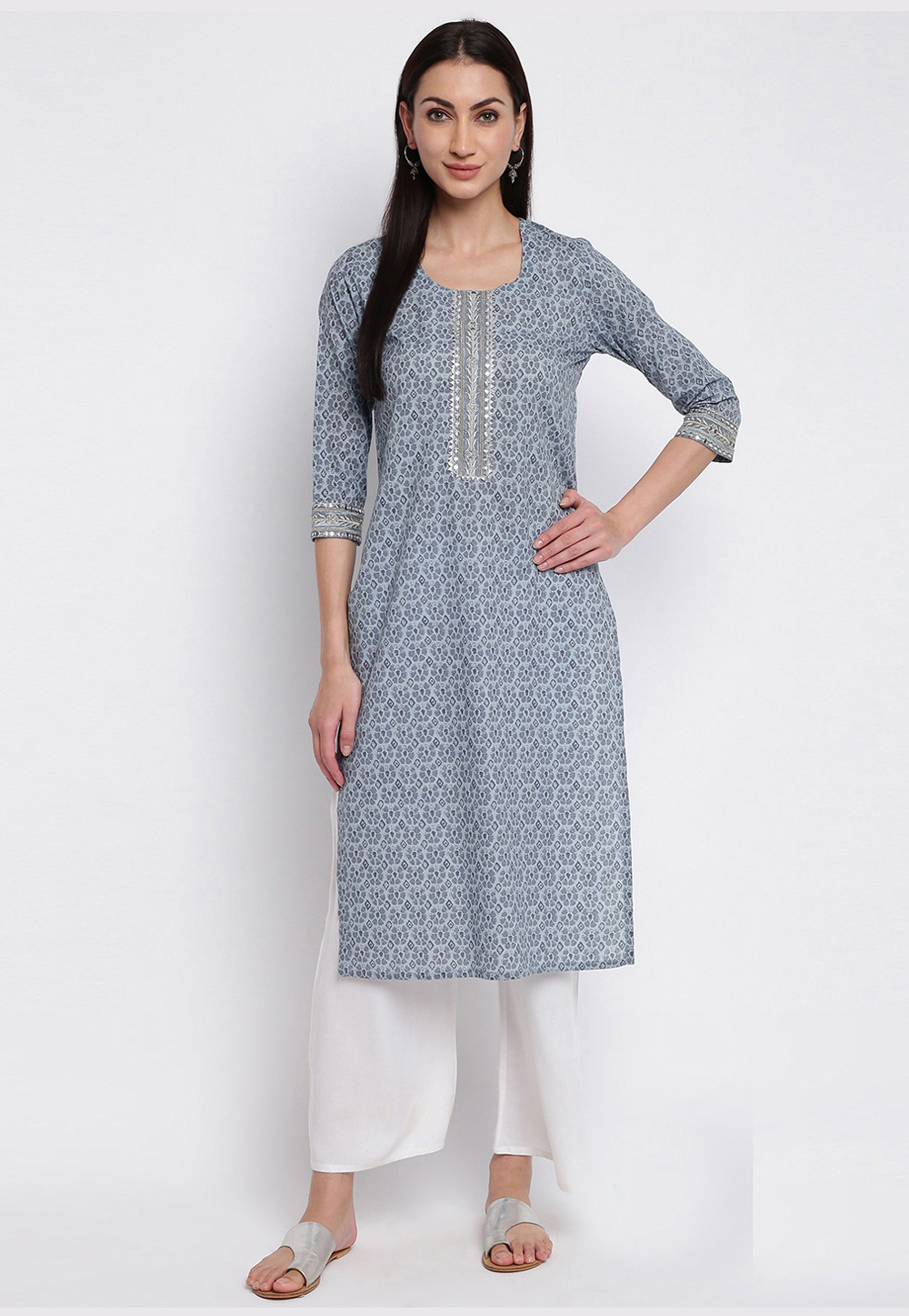 Grey Cotton Readymade Tunic 211643