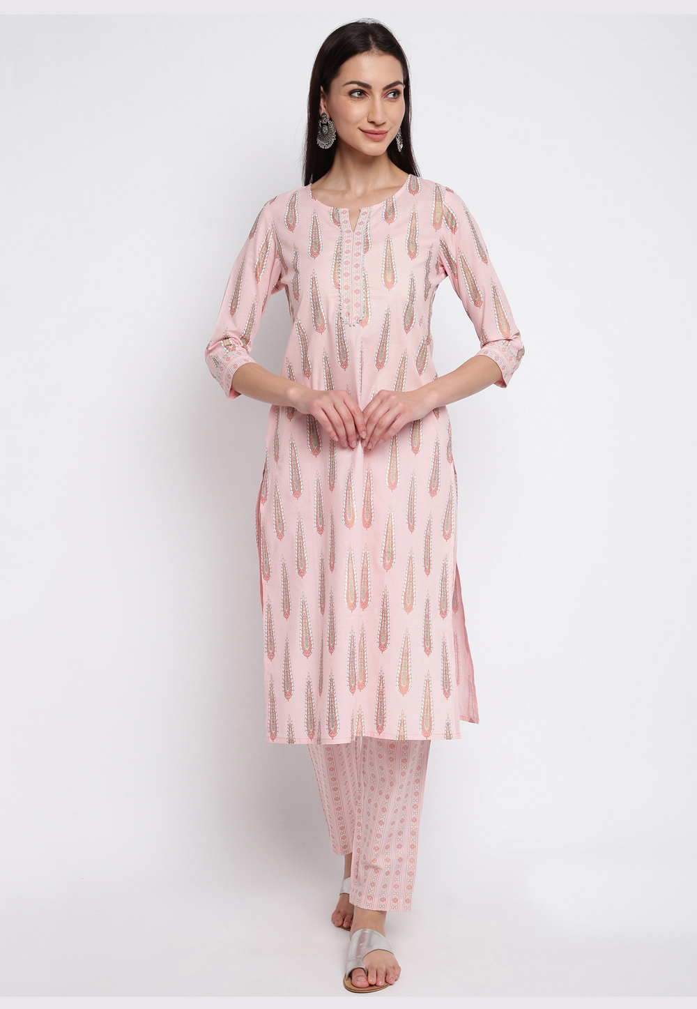 Light Pink Cotton Readymade Kurti 211648