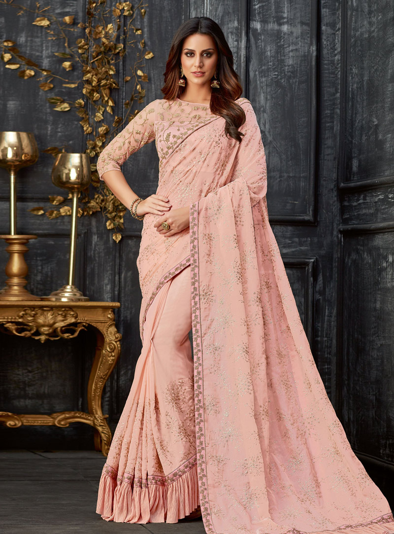 Light Pink Tissue Saree With Blouse 148670
