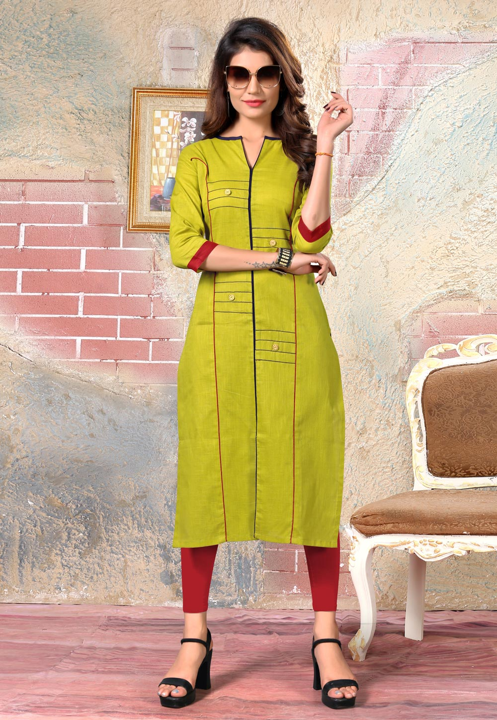 Green Cotton Readymade Tunic 175874
