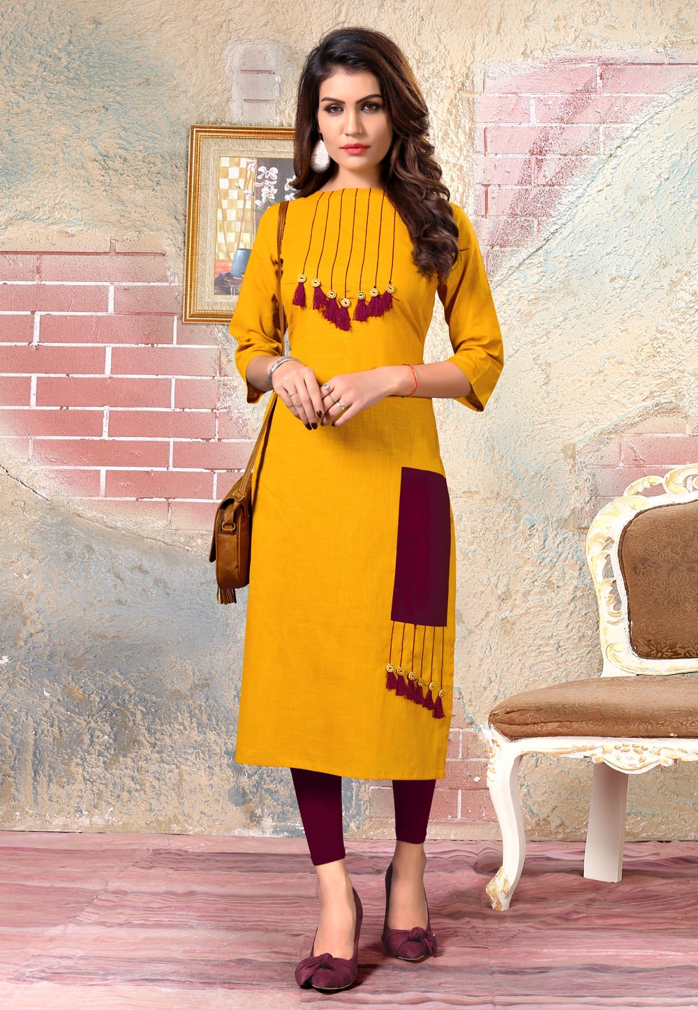 Yellow Cotton Readymade Tunic 175878