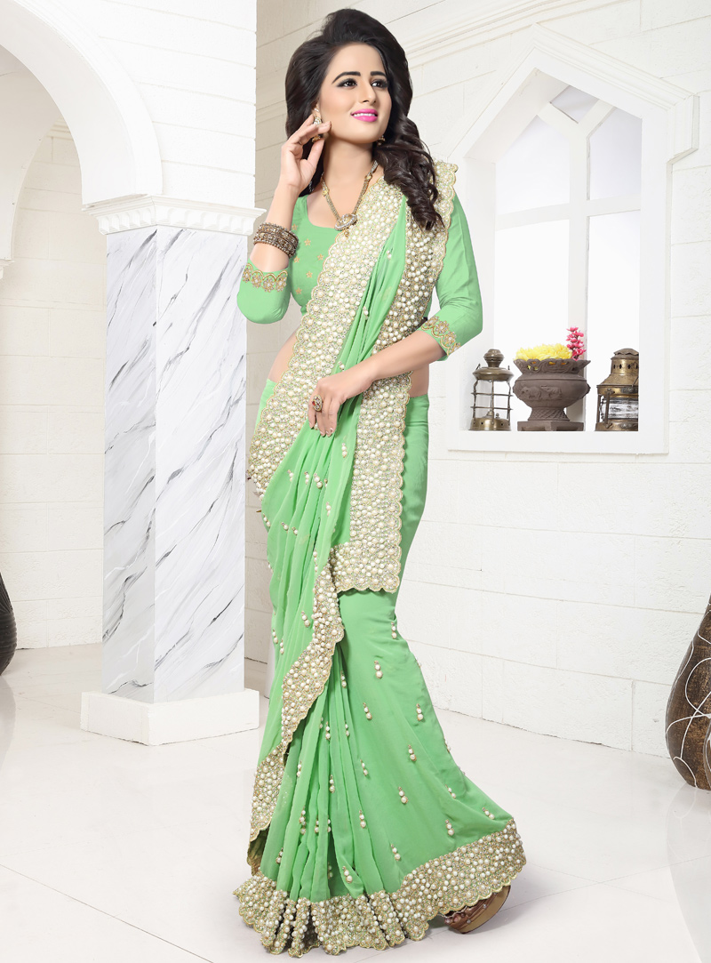Light Green Georgette Patch Lace Work Saree 117206