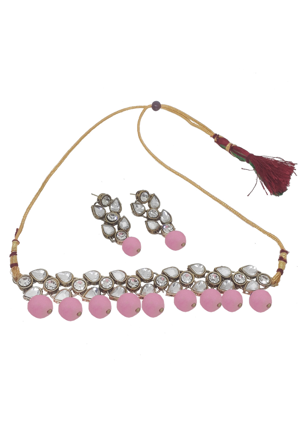Pink Alloy Necklace Set With Earrings 207283