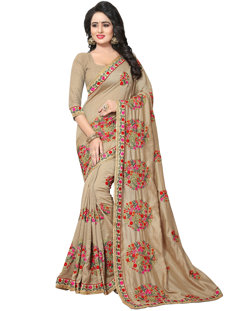 Beige Georgette Patch Lace Work Saree 118840