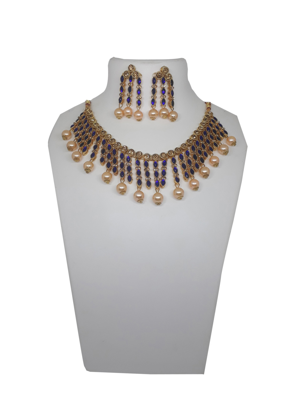 Blue Alloy Necklace Set With Earrings 207303