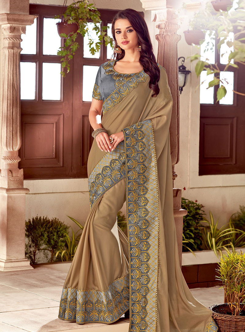 Brown Silk Lace Border Saree 153568