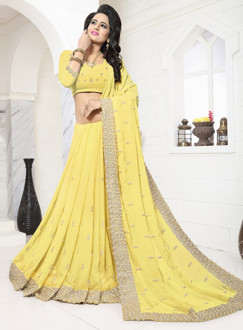 Yellow Georgette Moti Work Saree 117207