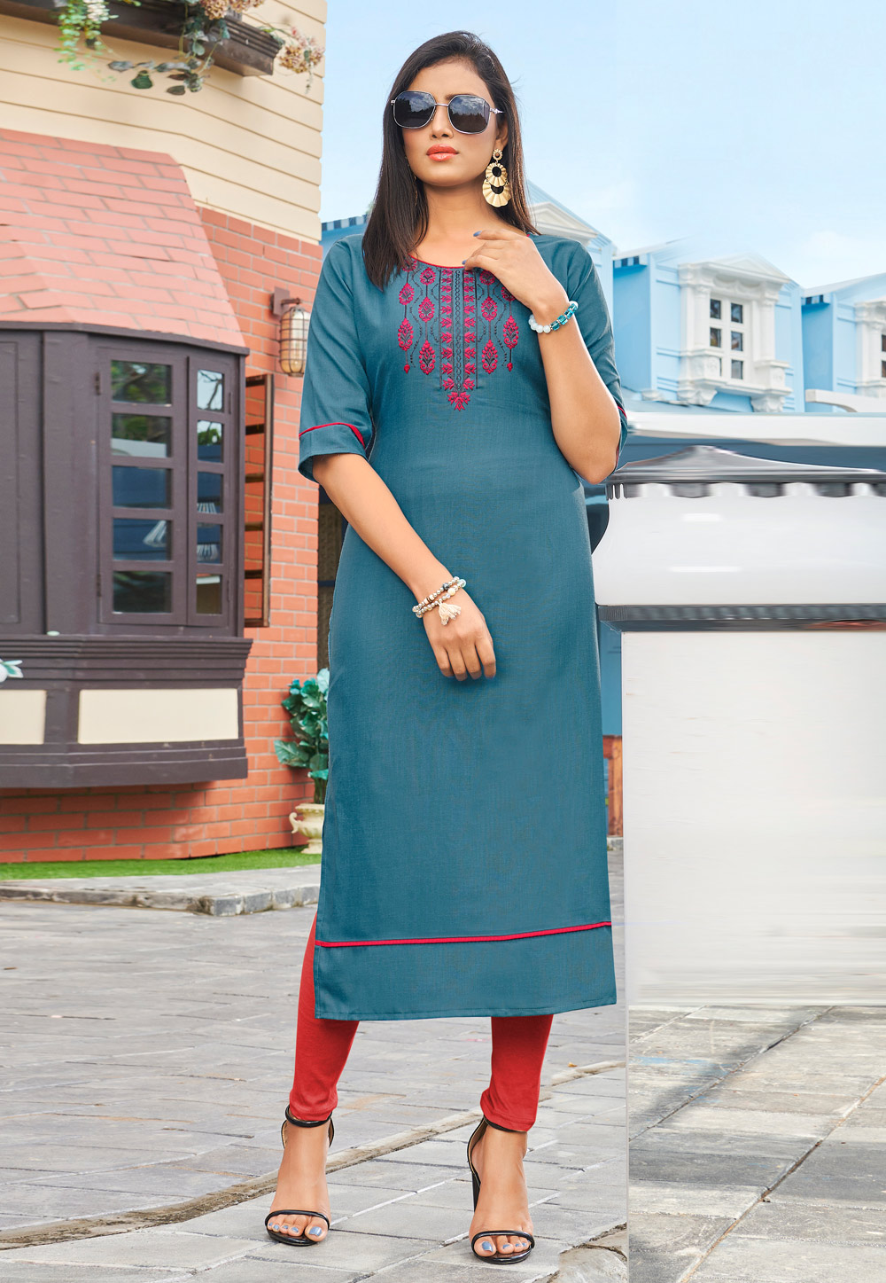 Light Blue Silk Readymade Kurti 211140