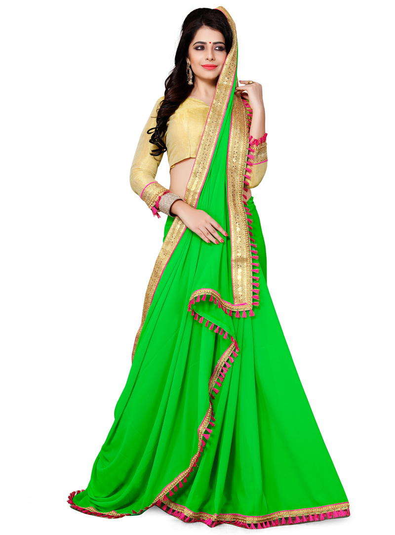 Green Georgette Saree With Blouse 120264