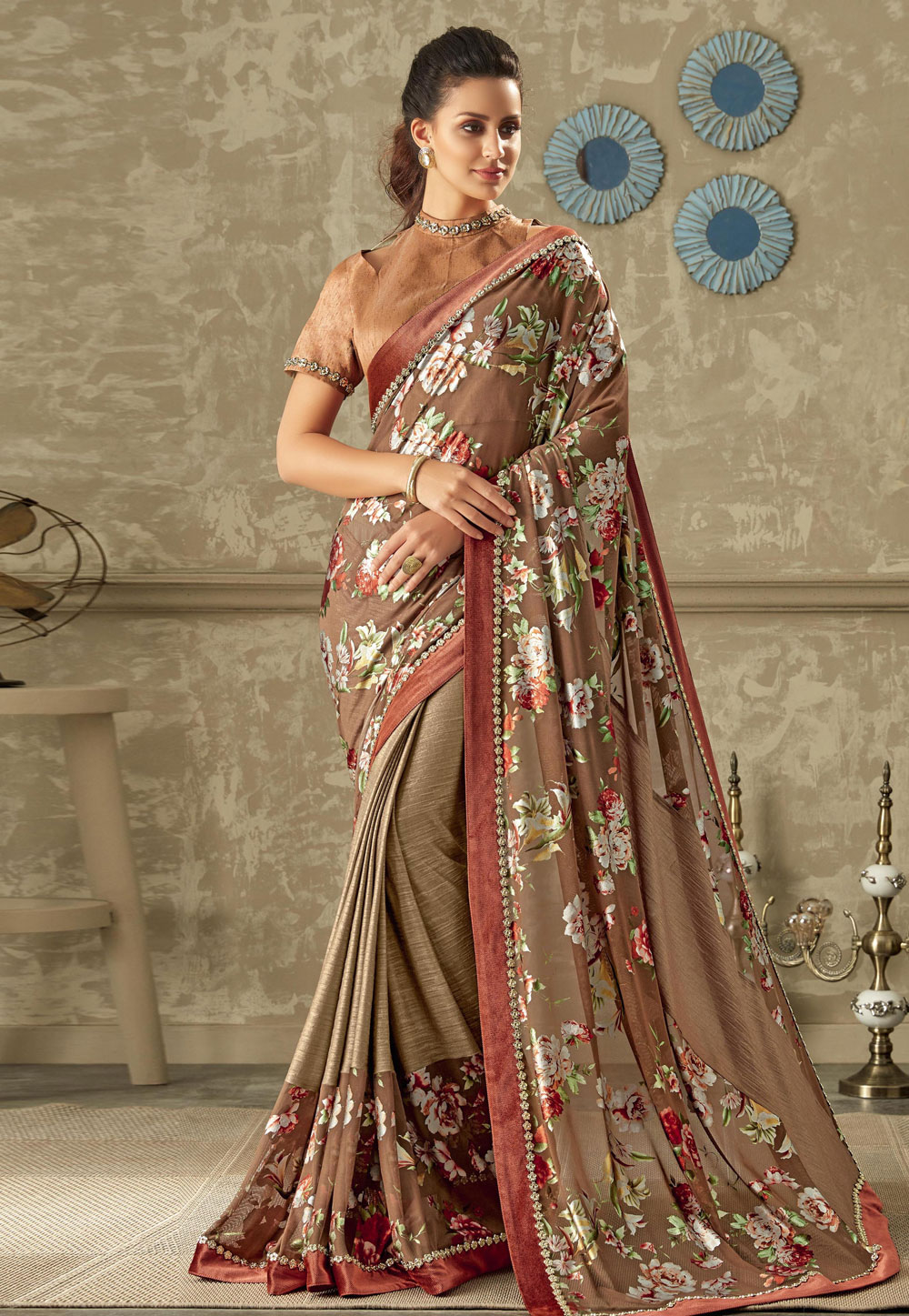 Beige Lycra Saree With Blouse 161685