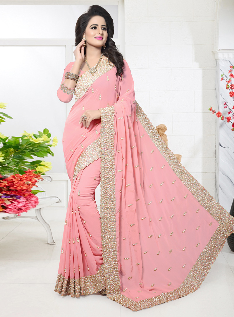 Pink Georgette Patch Lace Work Saree 117208