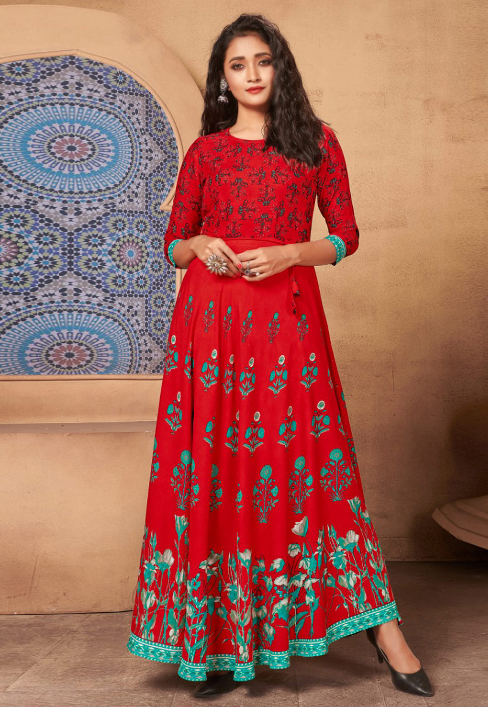 Red Rayon Readymade Printed Gown 213511