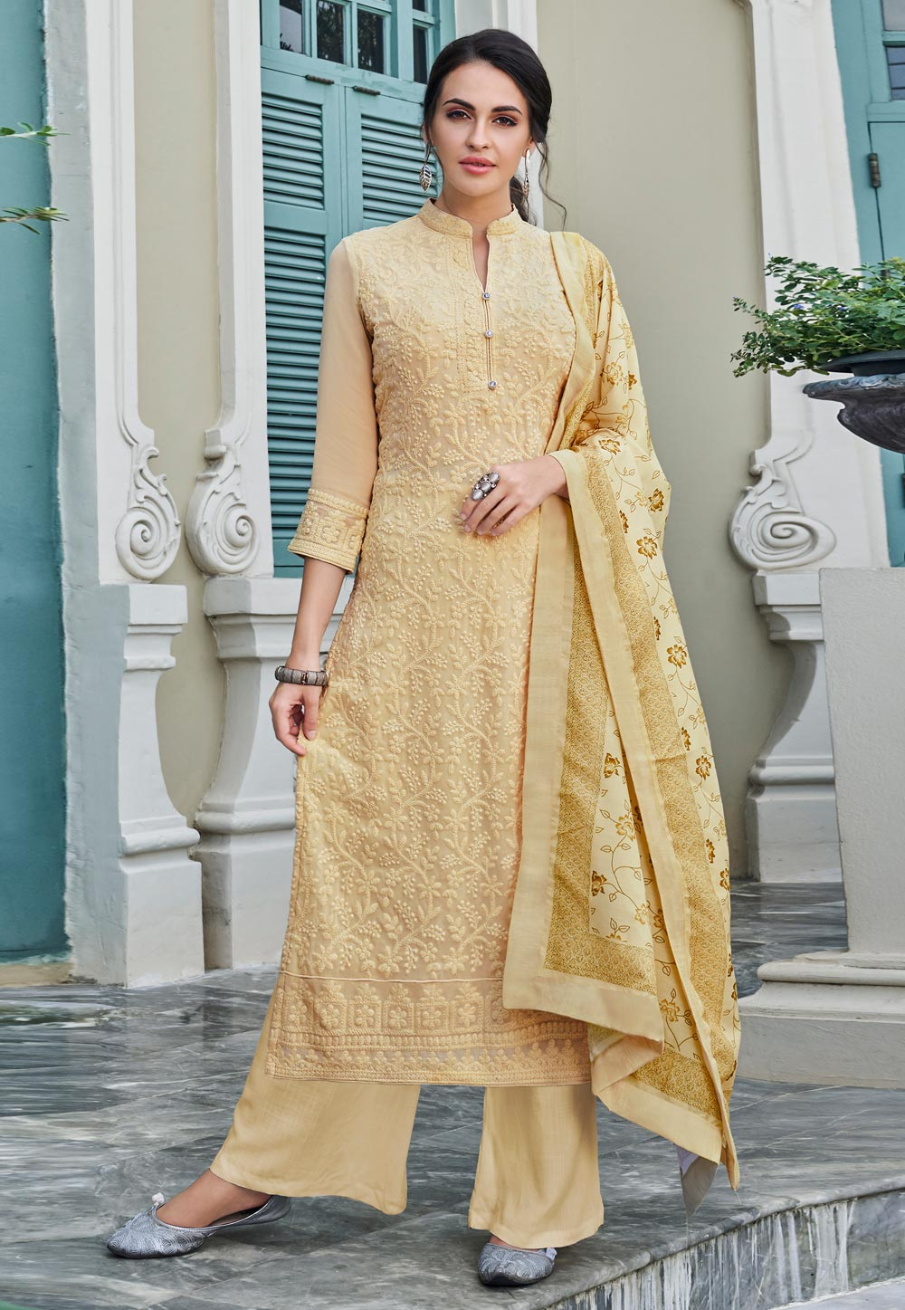 Beige Faux Georgette Readymade Kameez With Palazzo 194832