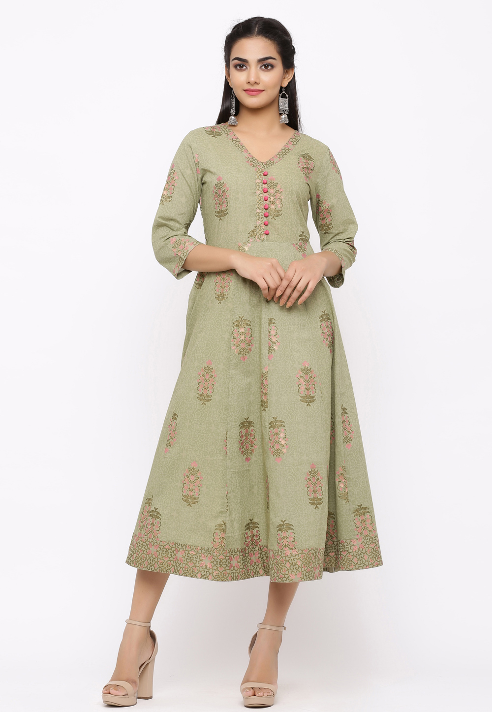 Green Cotton Readymade Tunic 207531