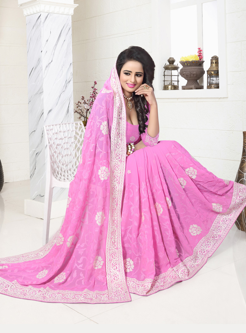 Pink Georgette Saree With Blouse 117210