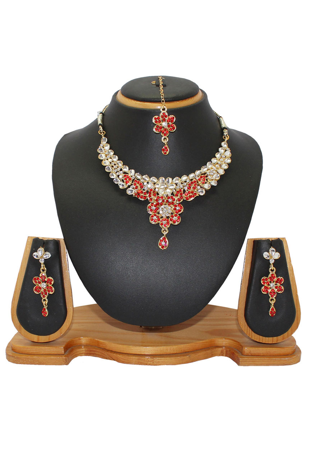 Red Alloy Austrian Diamonds Necklace With Earrings and Maang Tikka 64339