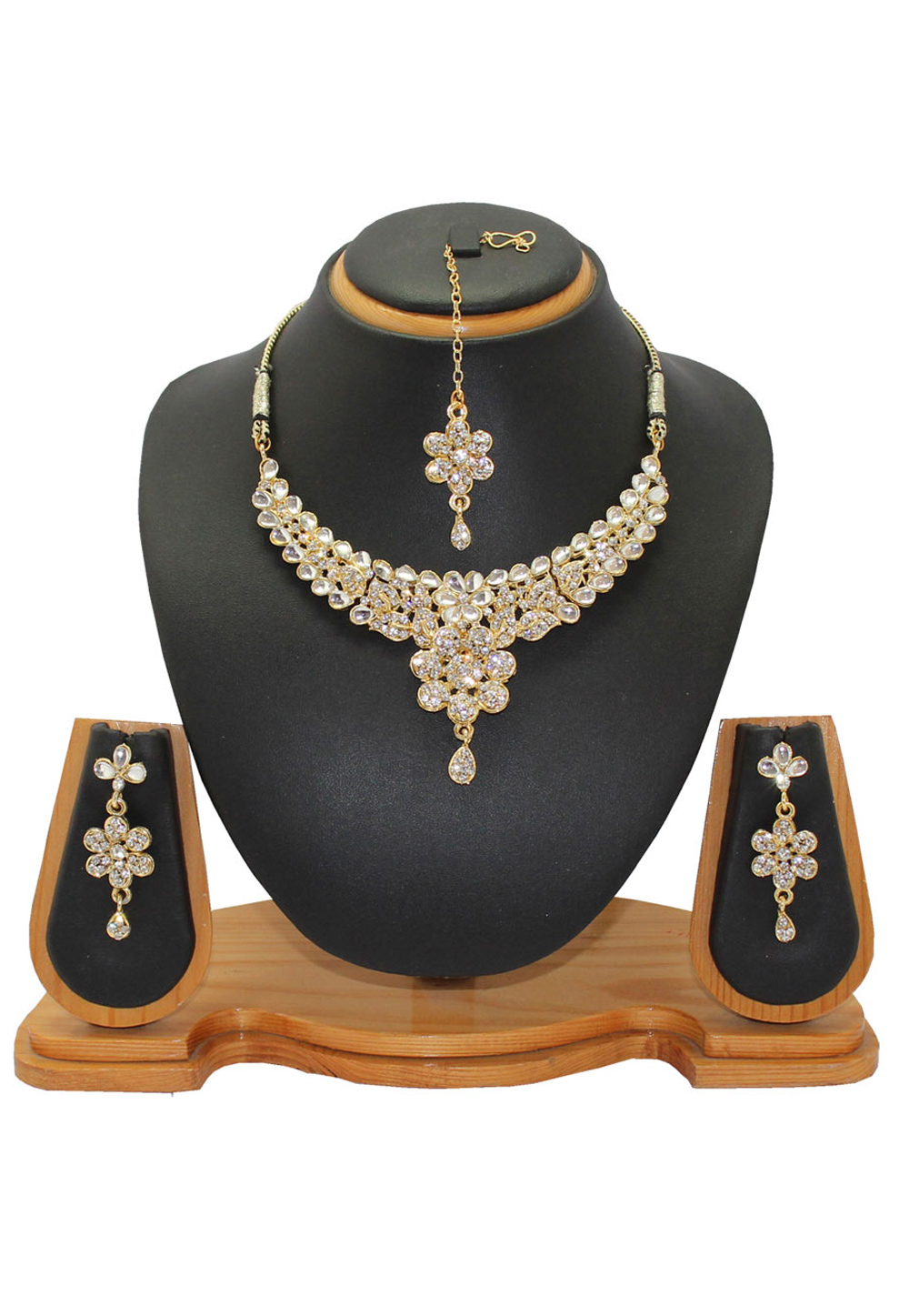 White Alloy Austrian Diamonds Necklace With Earrings and Maang Tikka 64340