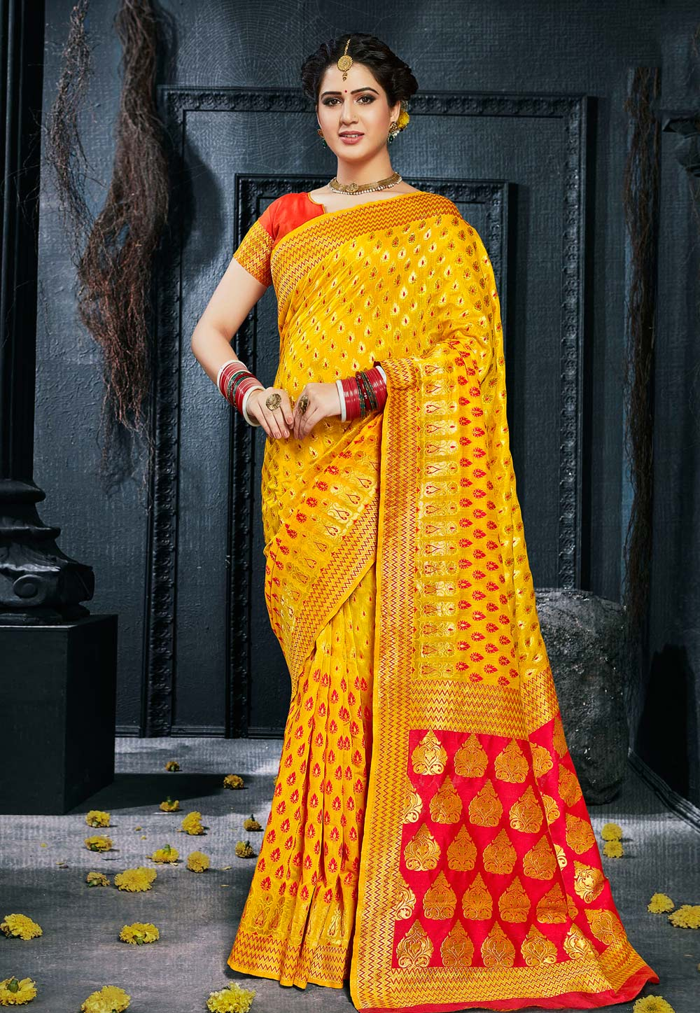 Yellow Silk Saree With Blouse 154014