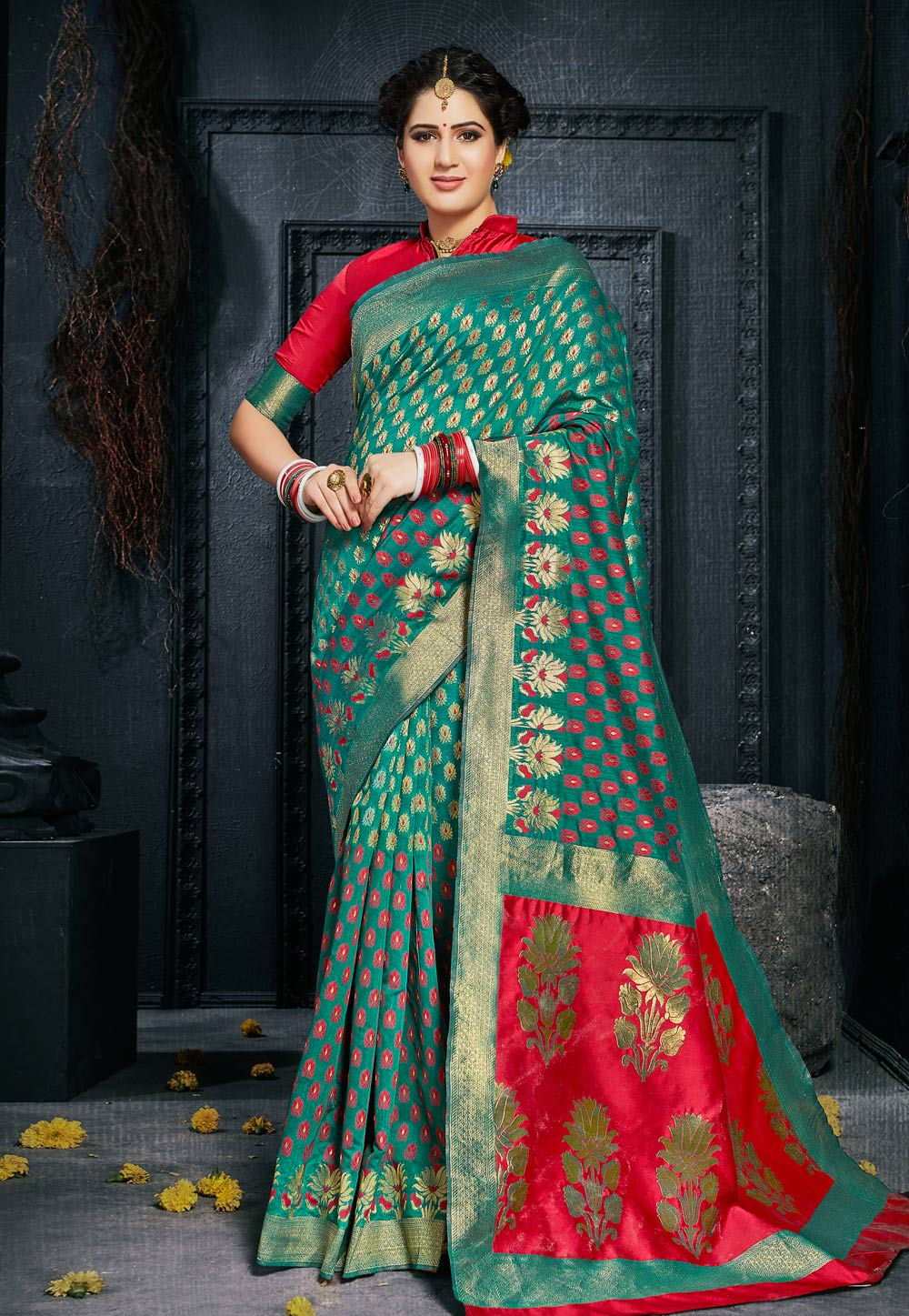 Sea Green Silk Saree With Blouse 154018