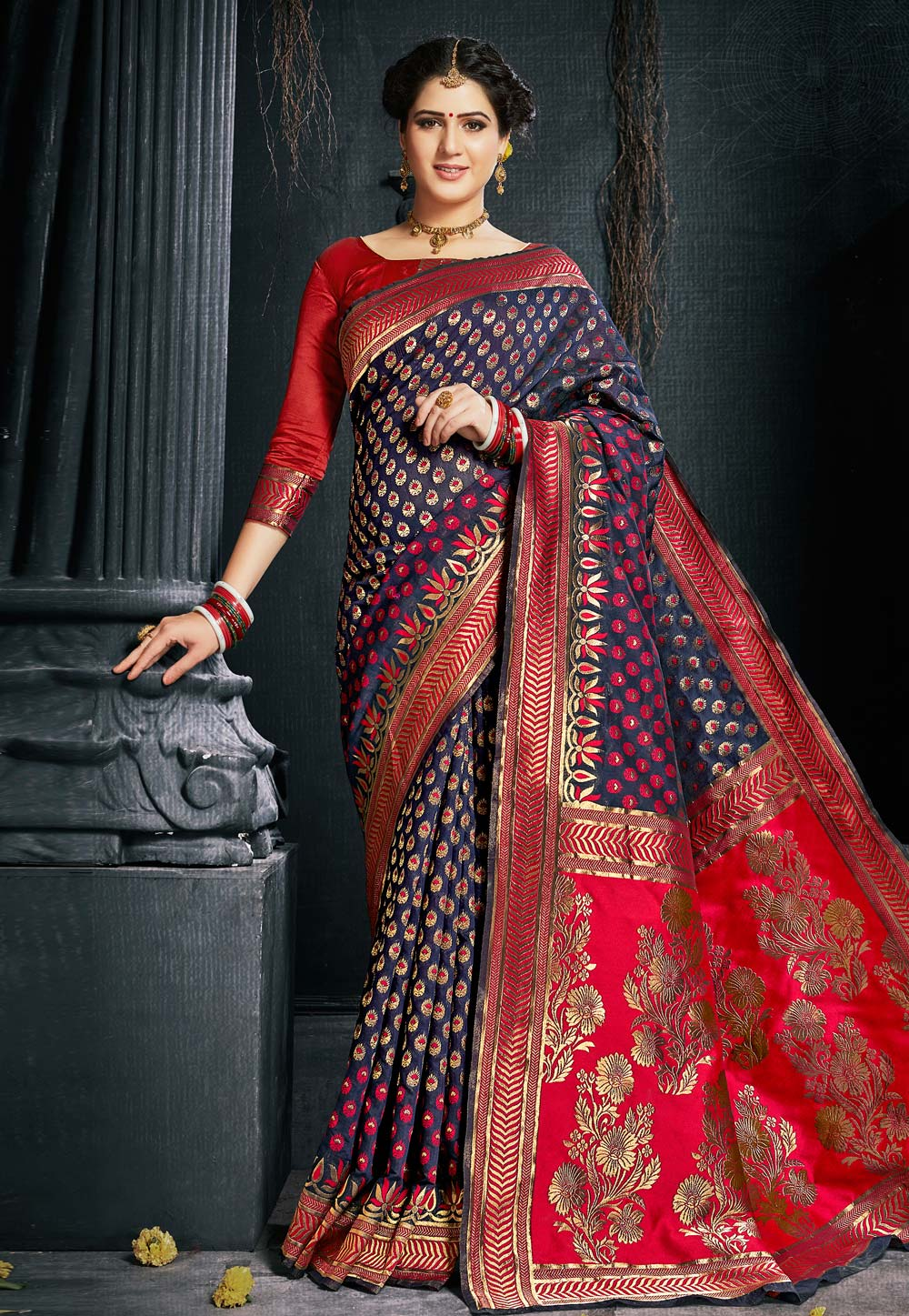 Navy Blue Silk Saree With Blouse 154020