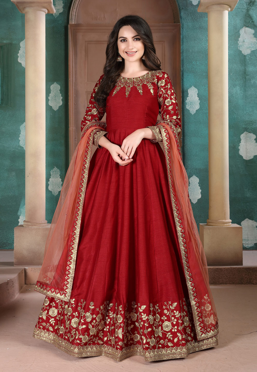 Red Silk Embroidered Long Anarkali Suit 209528