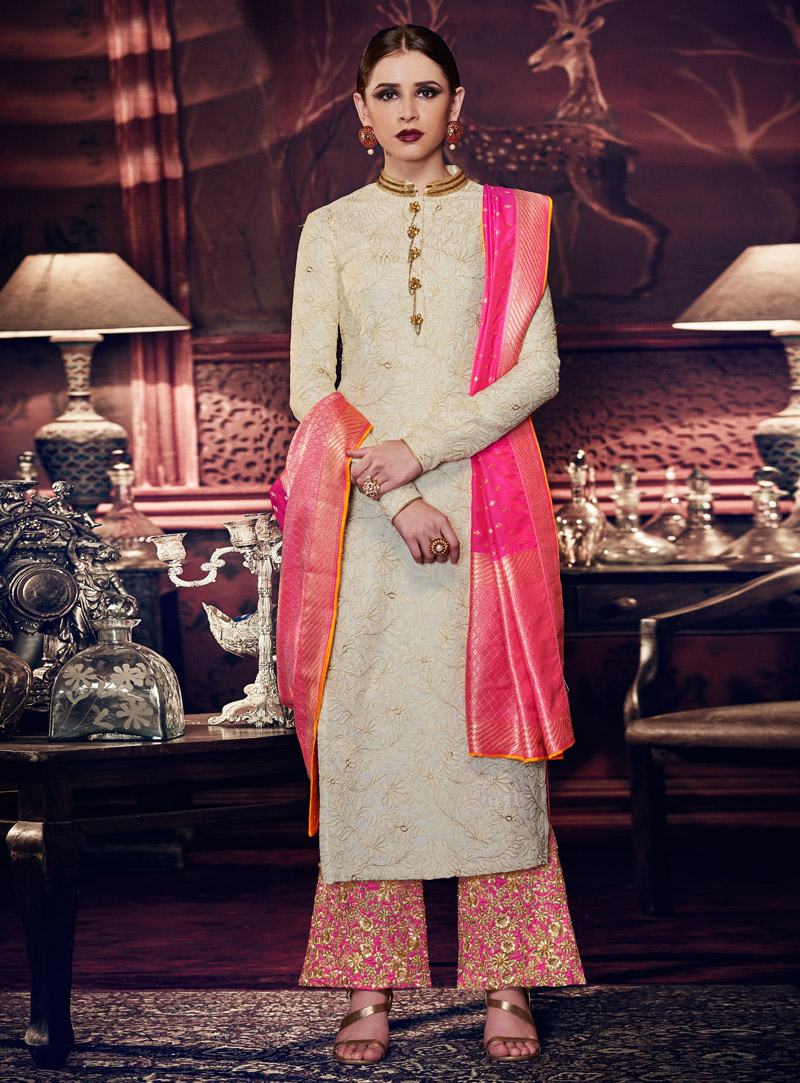 Off White Tussar Silk Palazzo Style Suit 118586