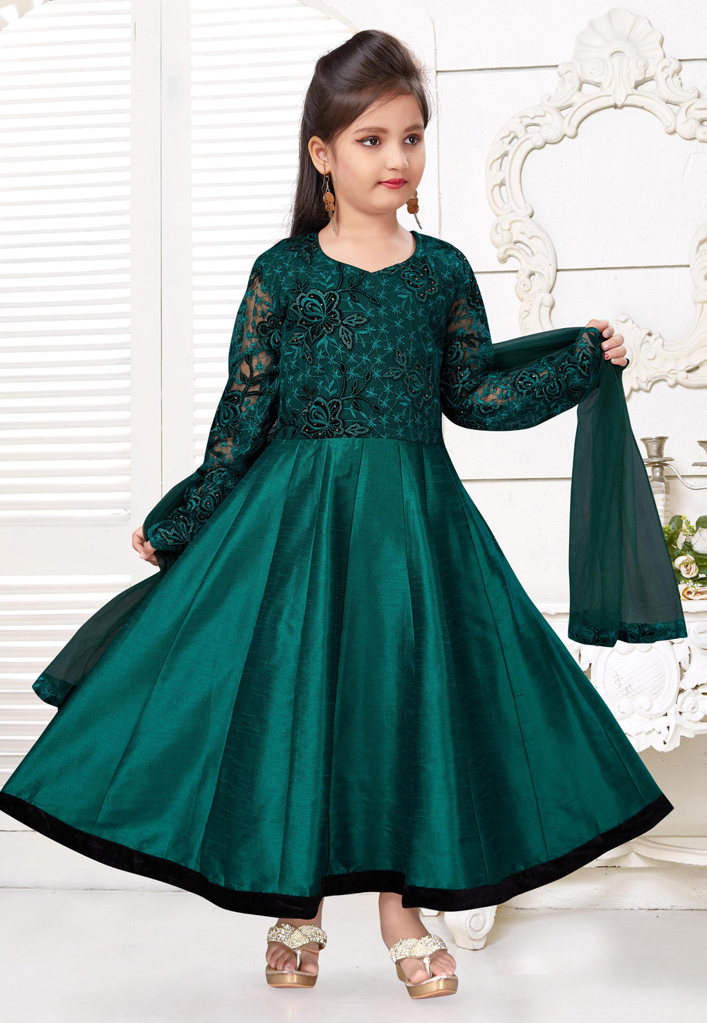 Teal Silk Kids Anarkali Suit 216789