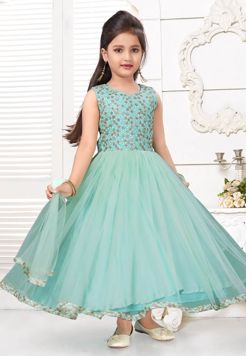 Aqua Silk Kids Circular Anarkali Suit 216794
