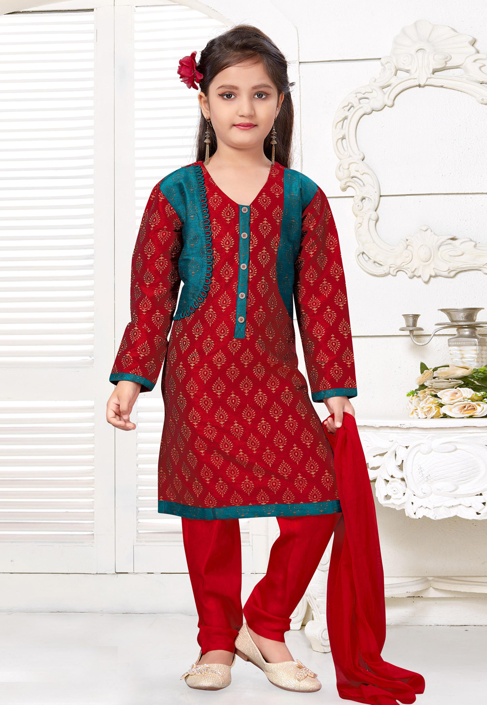 Maroon Art Silk Kids Salwar Suit 216797