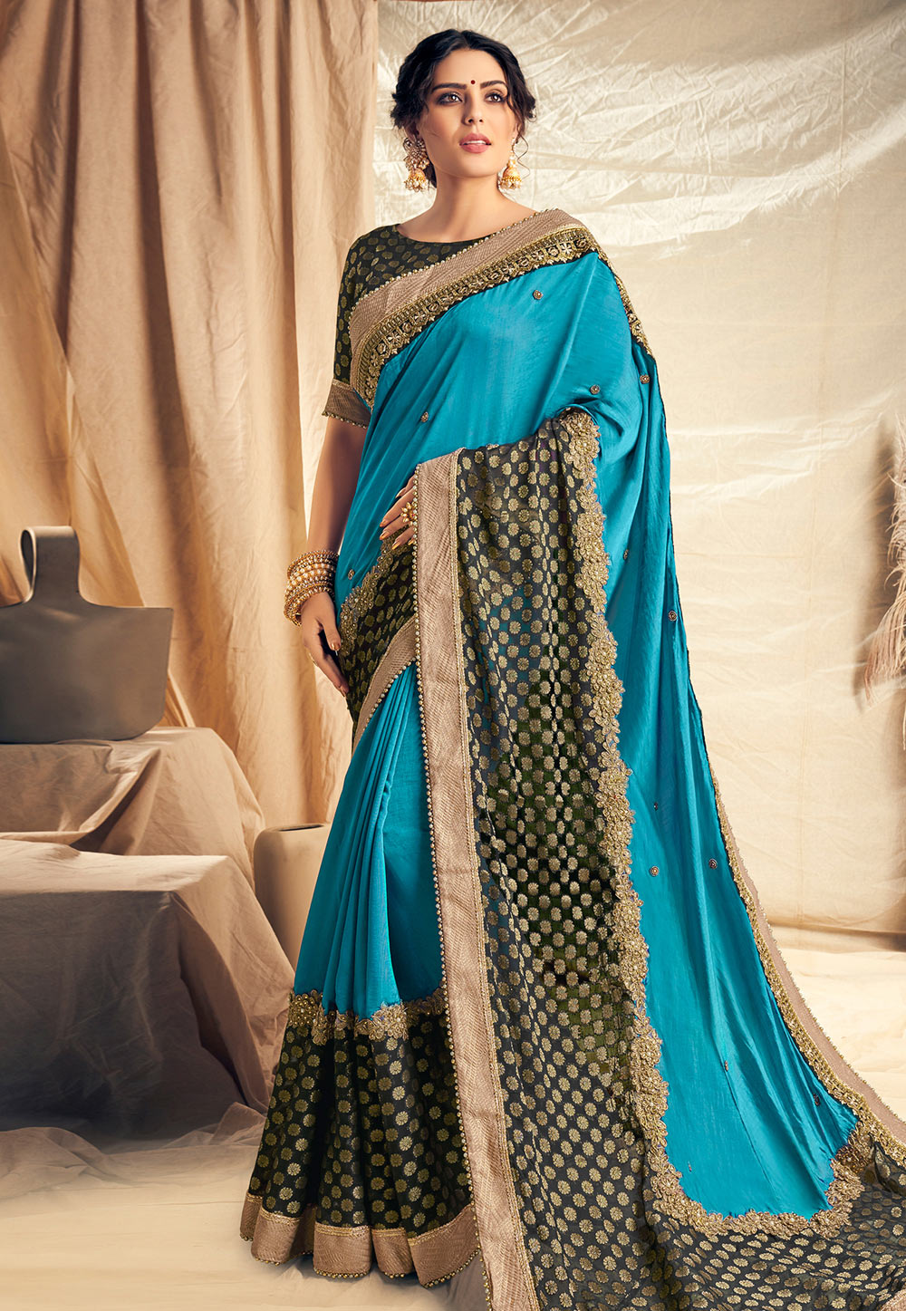 Aqua Satin Silk Saree With Blouse 186942