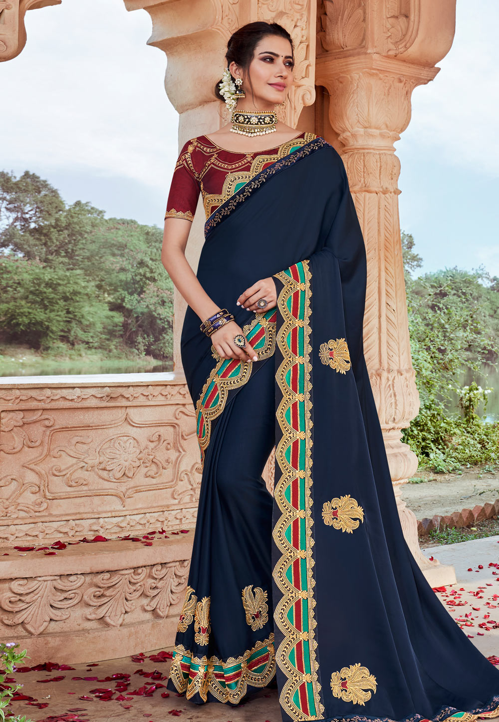 Navy Blue Satin Party Wear Saree 203205