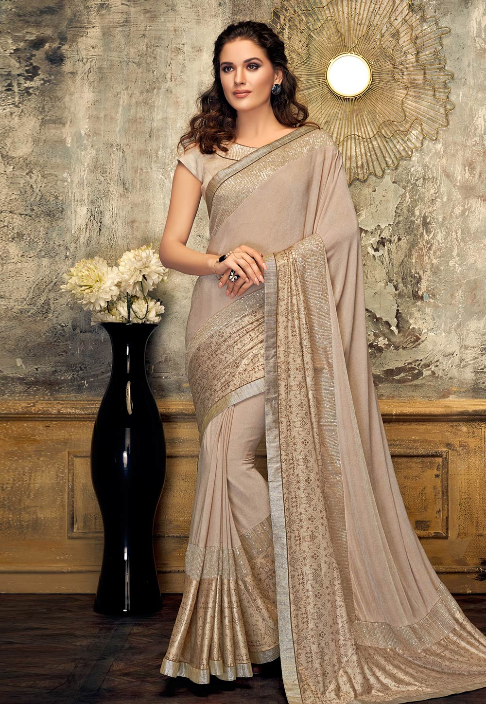 Beige Lycra Saree With Blouse 187293