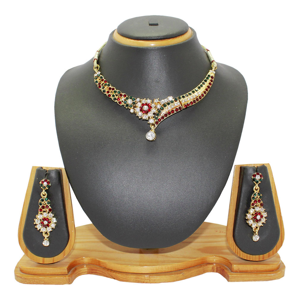 Maroon Alloy Austrian Diamonds Necklace With Earrings 64341