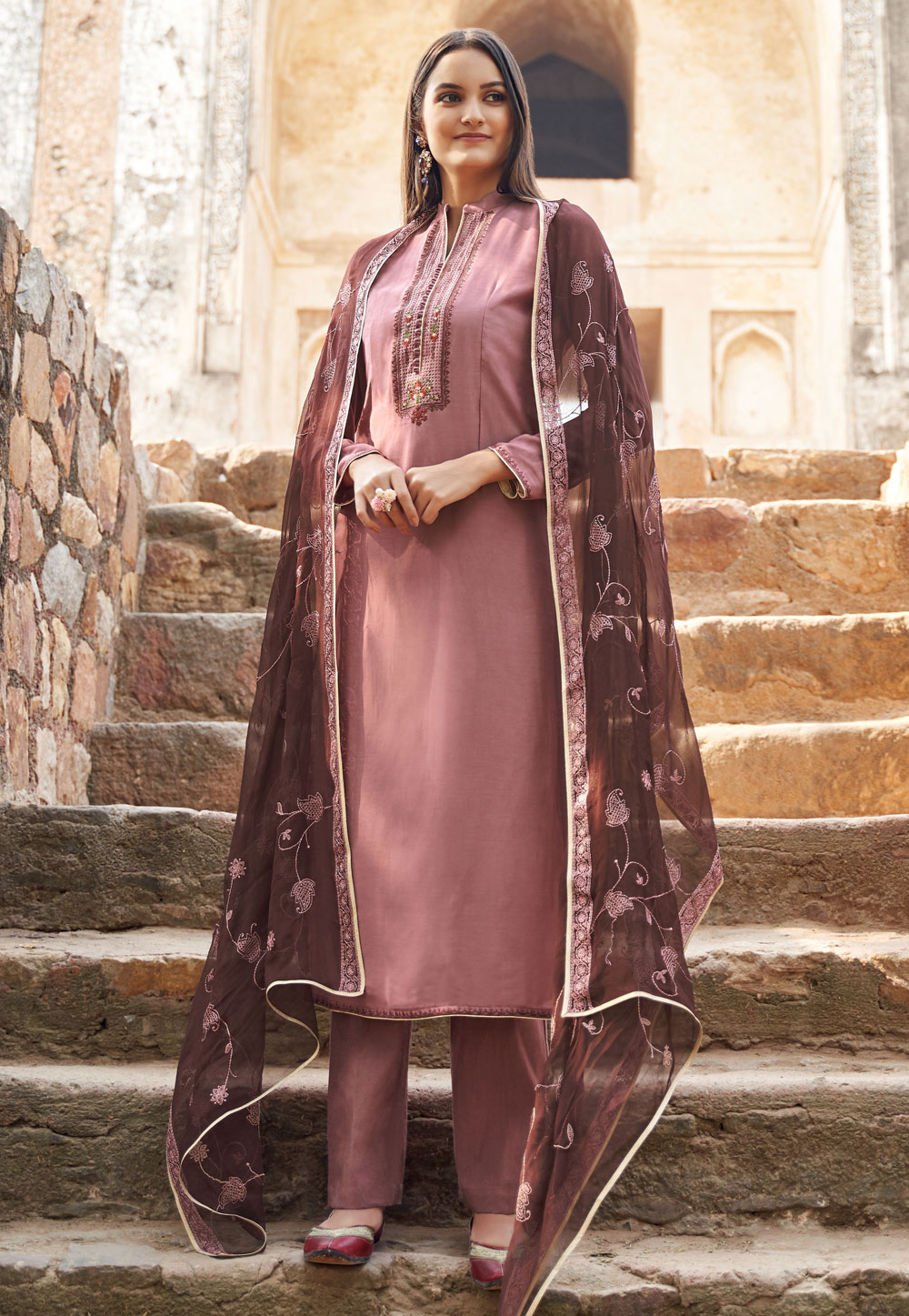 Pink Muslin Pant Style Suit 197012