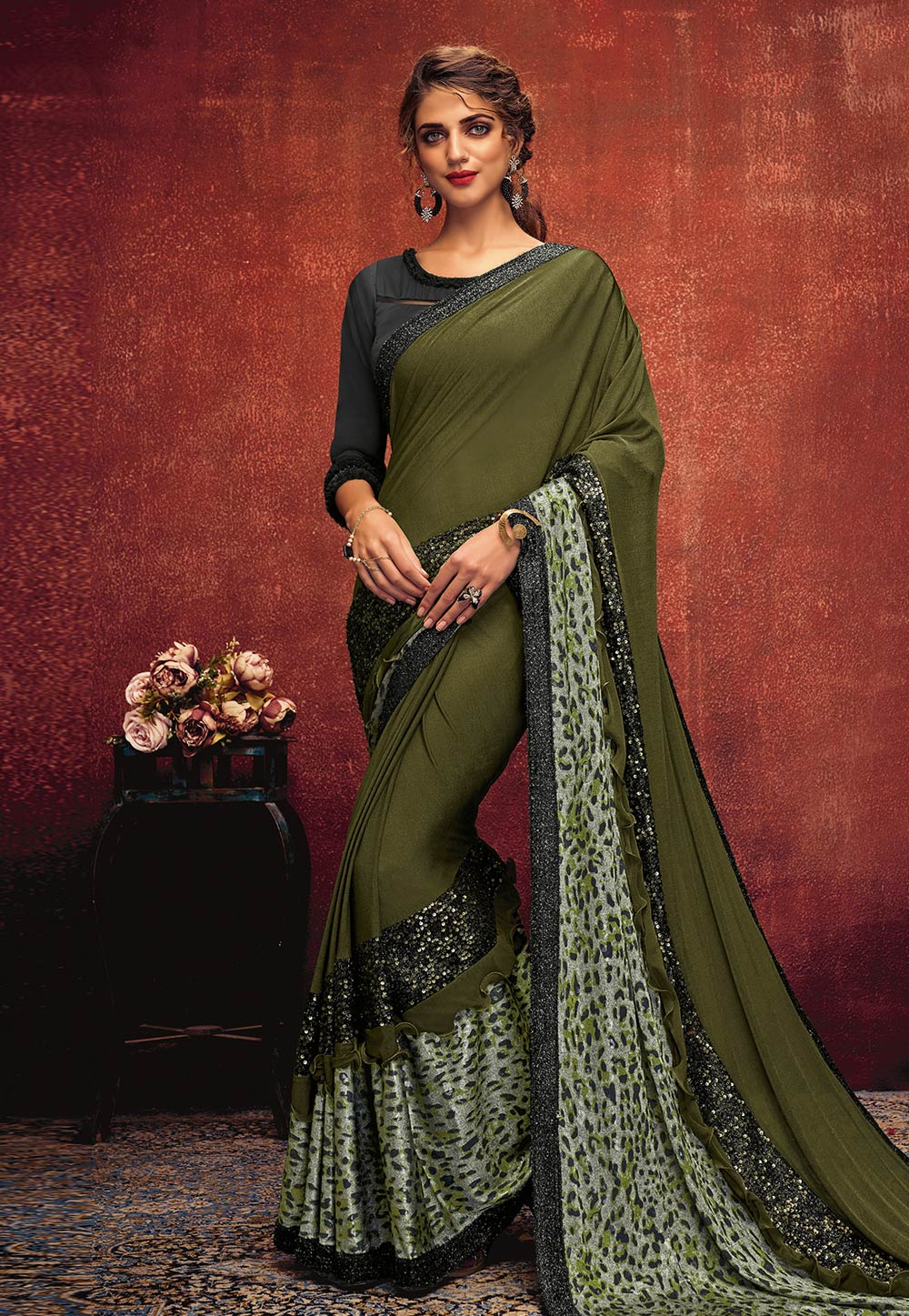 Green Lycra Saree With Blouse 195566