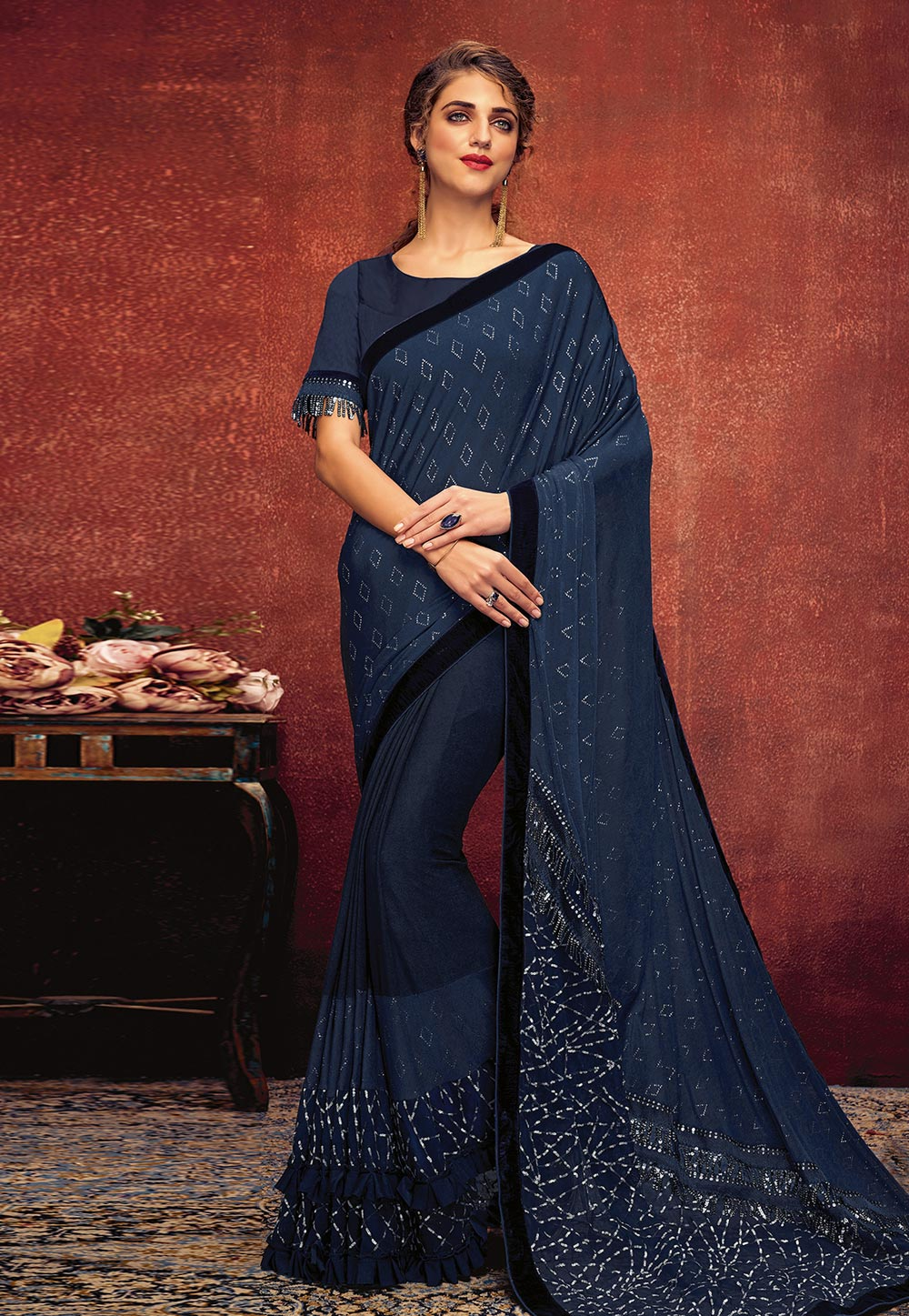 Navy Blue Lycra Saree With Blouse 195570
