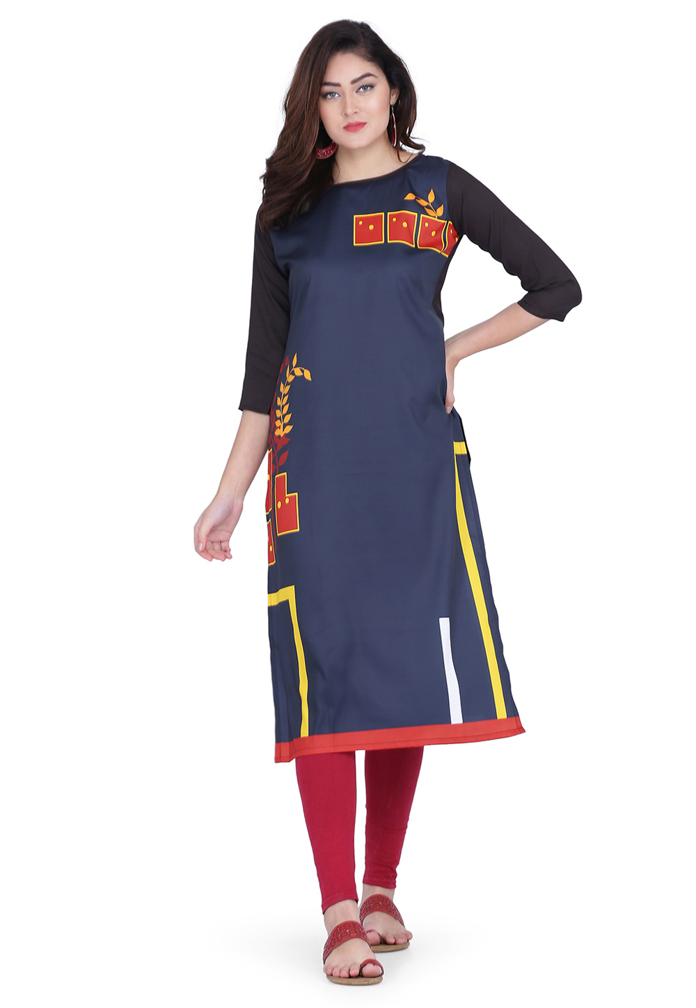 Navy Blue Crepe Printed Tunic 219413