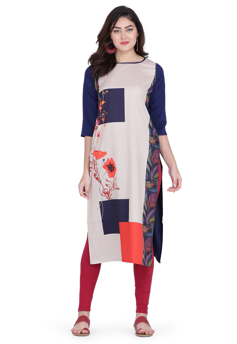 Navy Blue Crepe Printed Tunic 219415