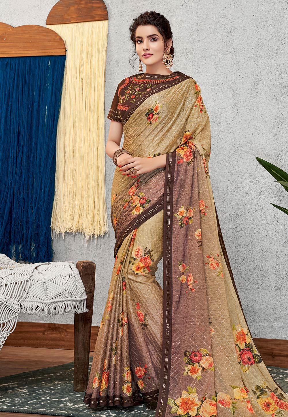 Beige Silk Saree With Blouse 200031