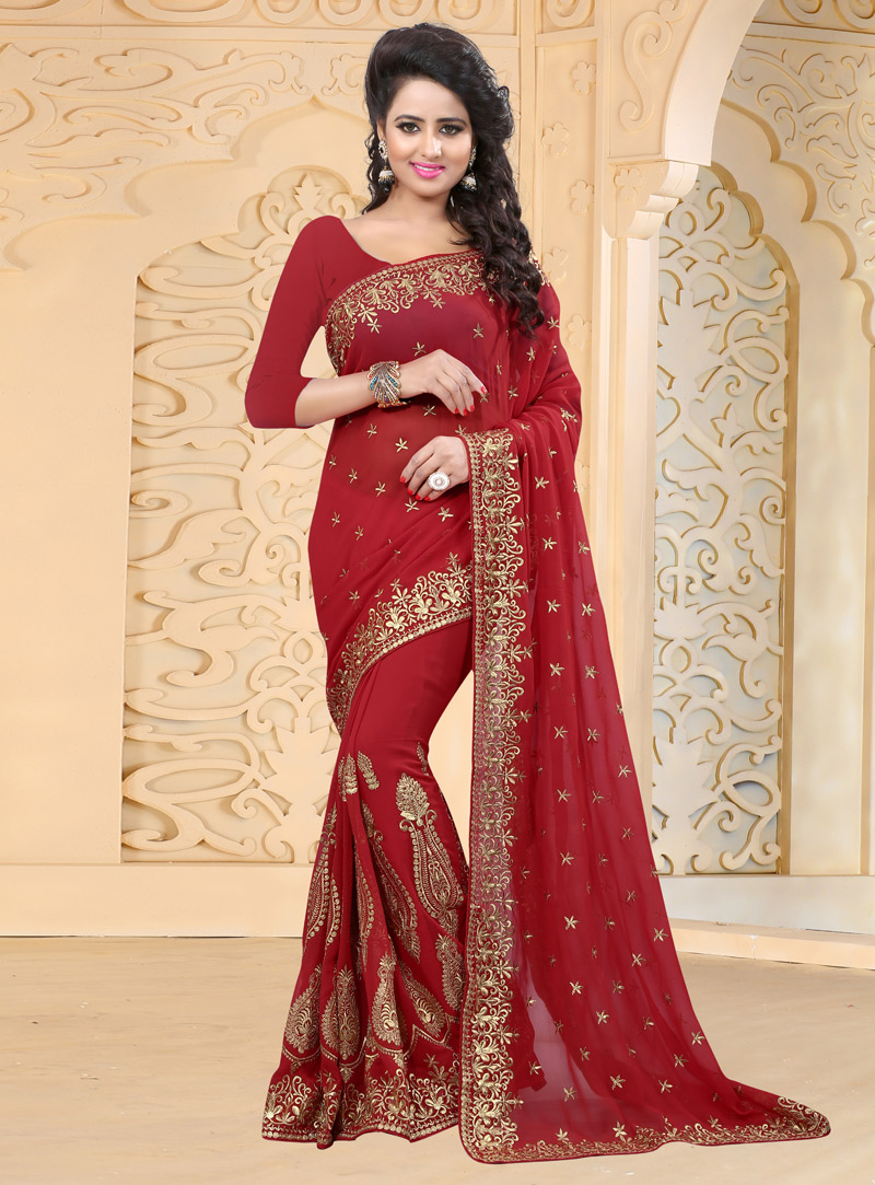Red Georgette Embroidery Work Saree 126284