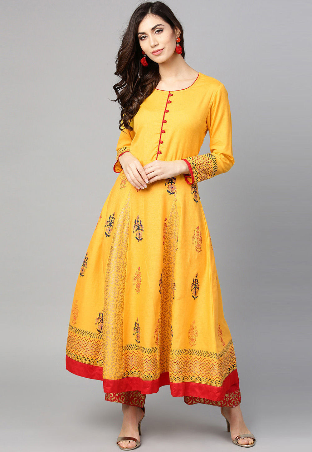 Yellow Cotton Readymade Kurti 208180