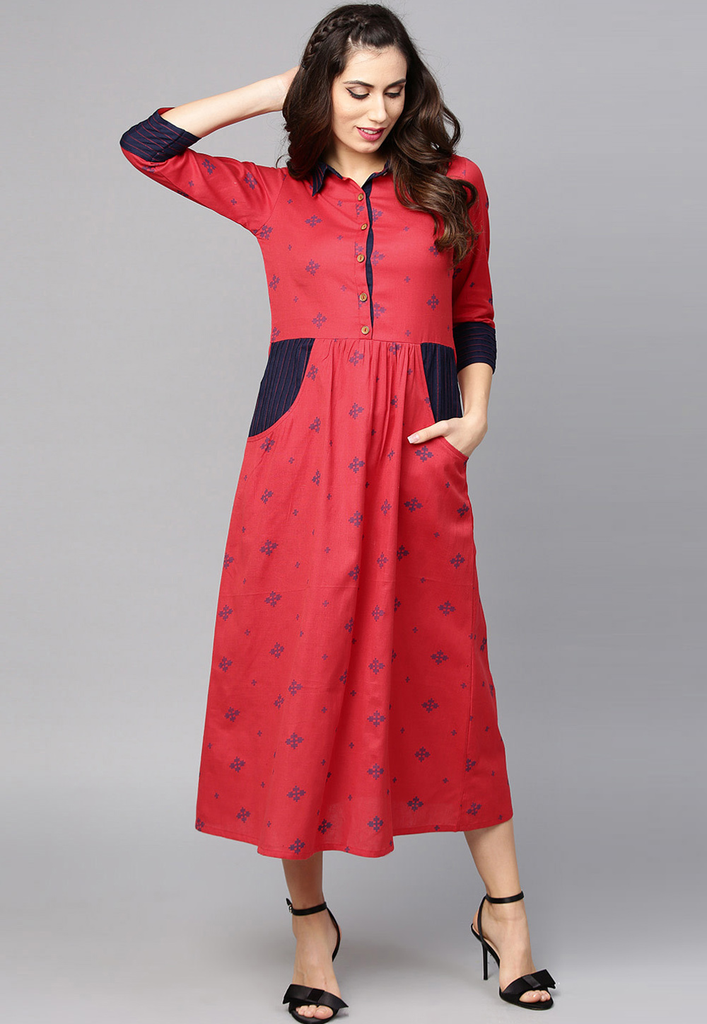 Red Cotton Readymade Tunic 208095